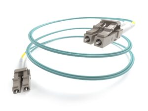 Image of a coiled LC to LC OM4 Aqua Fiber Optic Cable