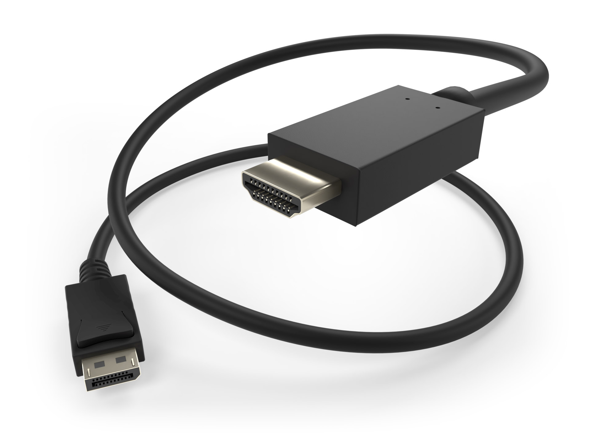 image of a DisplayPort to HDMI male to male cable
